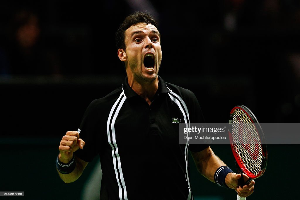 Roberto Bautista Agut of Spain celebrates victory against Jiri Vesely of the Czech Republic during day 4 of the ABN AMRO World Tennis Tournament held at Ahoy Rotterdam on February 11, 2016 in Rotterdam, Netherlands.