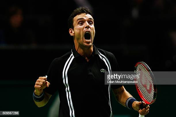 Roberto Bautista Agut of Spain celebrates victory against Jiri Vesely of the Czech Republic during day 4 of the ABN AMRO World Tennis Tournament held...