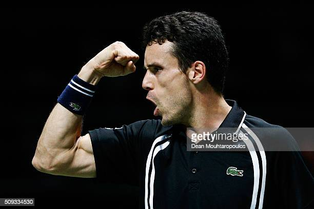 Roberto Bautista Agut of Spain celebrates victory against Joao Sousa of Portugal during day 3 of the ABN AMRO World Tennis Tournament held at Ahoy...