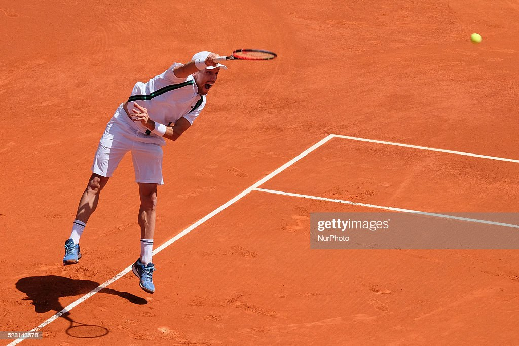 Roberto Bautista Agut of Spain in action against Feliciano Lopez of Spain during day five of the Mutua Madrid Open tennis tournament at the Caja Magica on May 04, 2016 in Madrid, Spain.