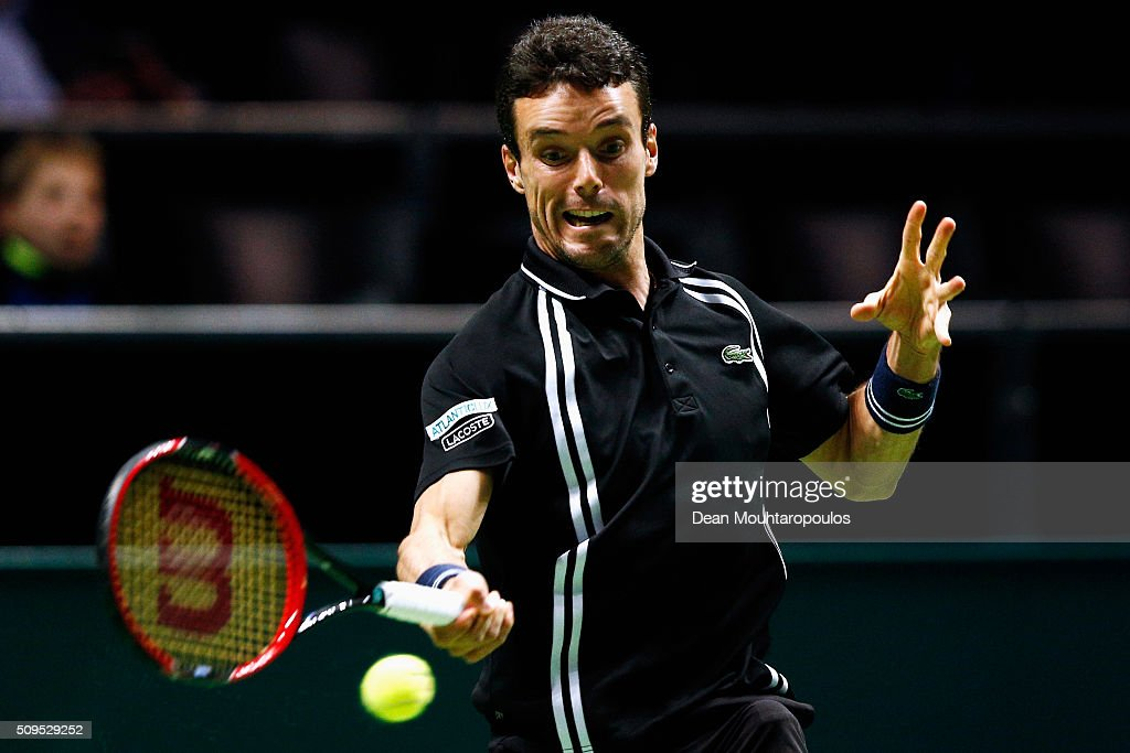 Roberto Bautista Agut of Spain in action against Jiri Vesely of the Czech Republic during day 4 of the ABN AMRO World Tennis Tournament held at Ahoy Rotterdam on February 11, 2016 in Rotterdam, Netherlands.