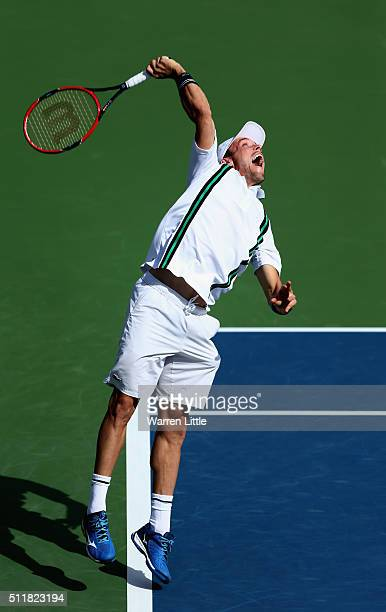 Roberto Bautista Agut of Spain in action against Simone Bolelli of Italy during day four of the ATP Dubai Duty Free Tennis Championship at the Dubai...