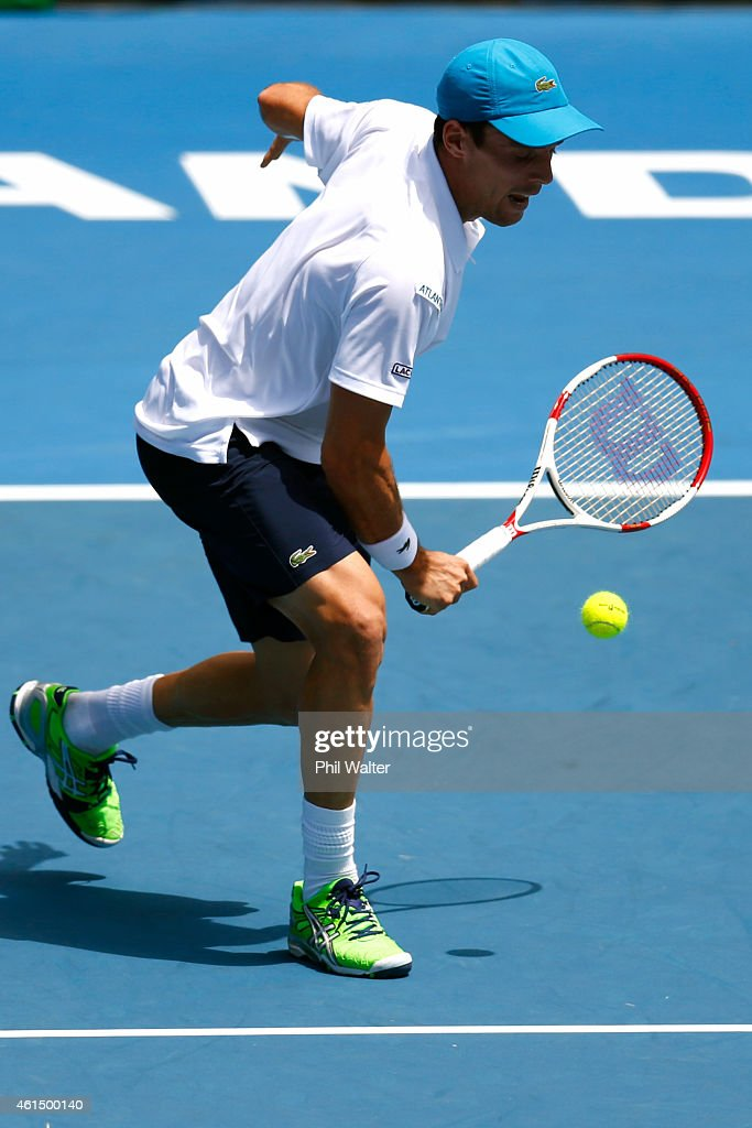 Roberto Bautista Agut of Spain plays a backhand during his singles match against Adrian Mannarino of France during day three of the 2015 Heineken Open Classic at the Auckland Tennis Centre on January 14, 2015 in Auckland, New Zealand.