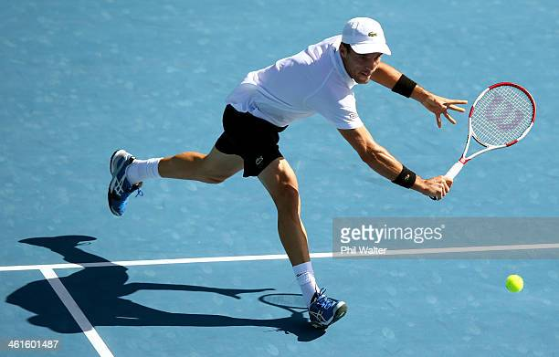 Roberto Bautista Agut of Spain plays a backhand in his semi final match against John Isner of the USA during day five of the Heineken Open at the ASB...