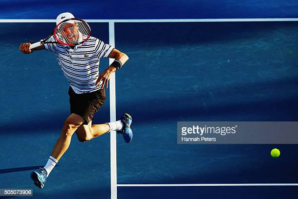 Roberto Bautista Agut of Spain plays a forehand during his semi final match against JoWilfried Tsonga of France during day five of the 2016 ASB...