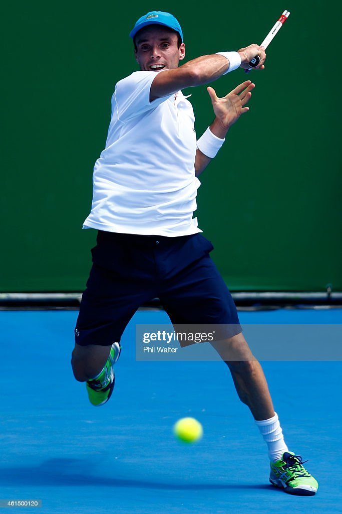 Roberto Bautista Agut of Spain plays a forehand during his singles match against Adrian Mannarino of France during day three of the 2015 Heineken Open Classic at the Auckland Tennis Centre on January 14, 2015 in Auckland, New Zealand.