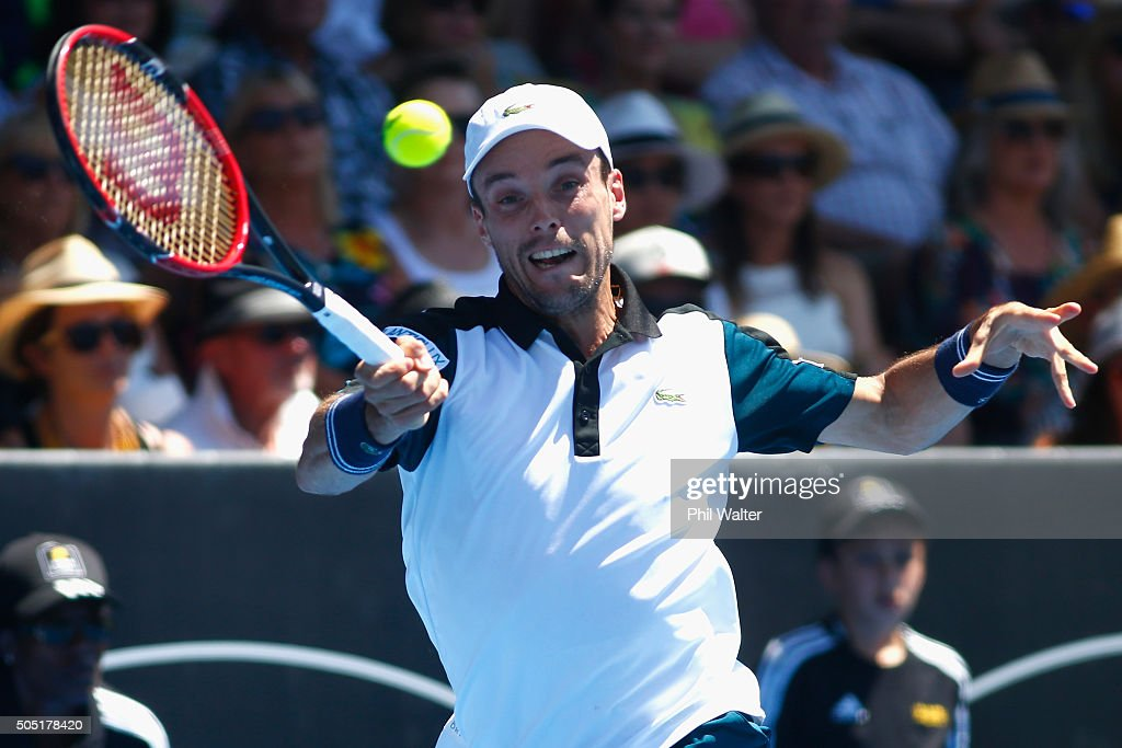 Roberto Bautista Agut of Spain plays a forehand during his singles final against Jack Sock of the USA on day six of the ASB Classic at the Stanley Street Tennis Centre on January 16, 2016 in Auckland, New Zealand.