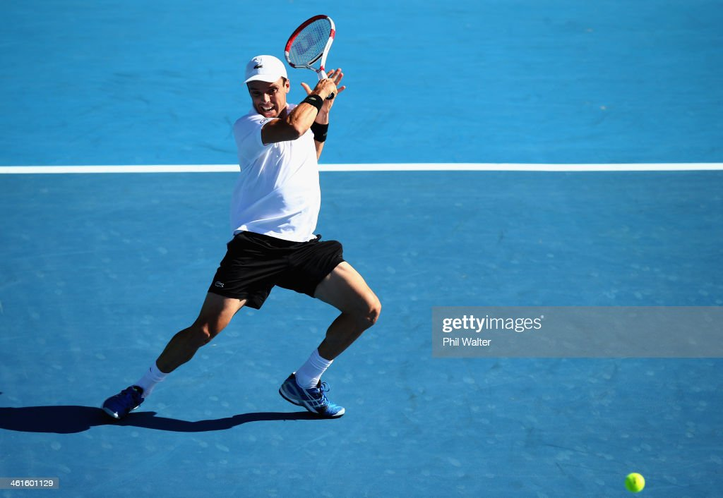Roberto Bautista Agut of Spain plays a forehand in his semi final match against John Isner of the USA during day five of the Heineken Open at the ASB Tennis Centre on January 10, 2014 in Auckland, New Zealand.