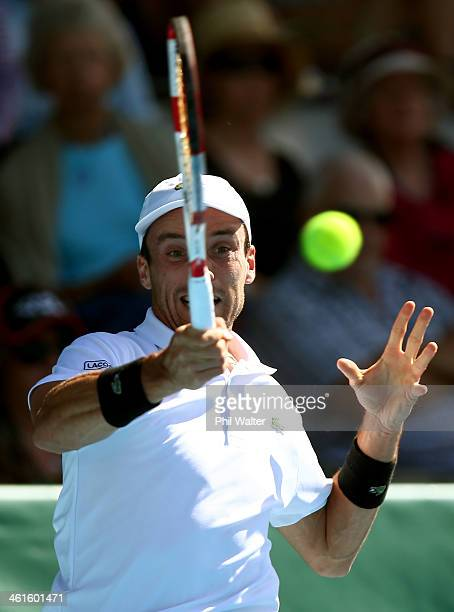 Roberto Bautista Agut of Spain plays a forehand in his semi final match against John Isner of the USA during day five of the Heineken Open at the ASB...