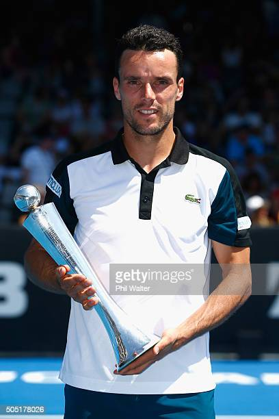 Roberto Bautista Agut of Spain poses with the trophy following his singles final against Jack Sock of the USA on day six of the ASB Classic at the...