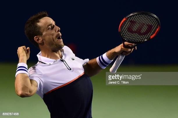 Roberto Bautista Agut of Spain reacts after defeating JanLennard Struff of Germany during their semifinals match in the WinstonSalem Open at Wake...
