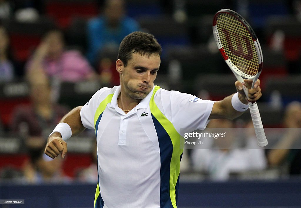 Roberto Bautista Agut of Spain reacts after winning his match against Alexandr Dogopolov of Ukraine during the day one of the Shanghai Rolex Masters at the Qi Zhong Tennis Center on October 5, 2014 in Shanghai, China.