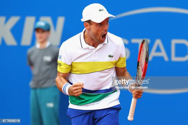 Roberto Bautista Agut of Spain reacts at his 2 round match against Marius Copil of Rumania during their 2 round match of the 102 BMW Open by FWU at...
