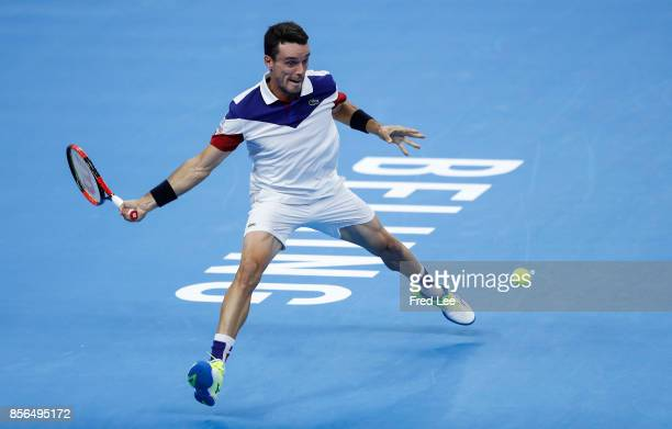 Roberto Bautista Agut of Spain returns a shot against Zhang ze of china during the men's singles first round match on day three of the 2017 China...