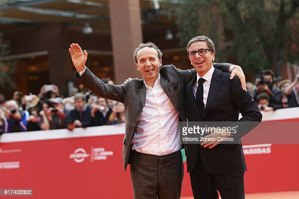 Roberto Benigni and Antonio Monda walk the red carpet during the 11th Rome Film Festival at Auditorium Parco Della Musica on October 23 2016 in Rome...