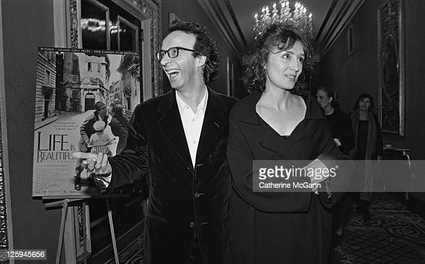 Roberto Benigni and his wife Nicoletta Braschi at the New York premiere of the movie 'Life Is Beautiful' at the Gotham Theater on October 1998 in New...