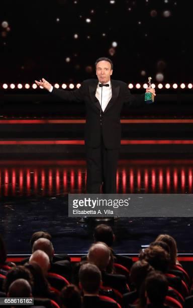 Roberto Benigni receives the Lifetime Achievement Award during the 61 David Di Donatello ceremony on March 27 2017 in Rome Italy