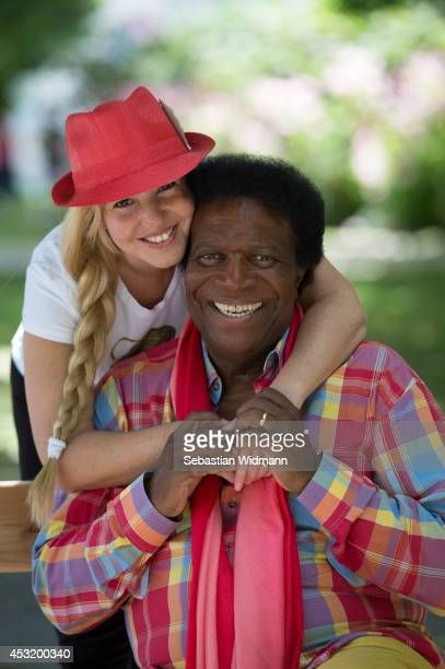 Roberto Blanco and his wife Luzandra Blance pose on July 4 2014 in Salzburg Austria