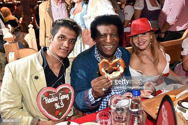 Roberto Blanco and his wife Luzandra with her brother during the Radio Gong 963 Wiesn during the Oktoberfest 2016 on September 21 2016 in Munich...