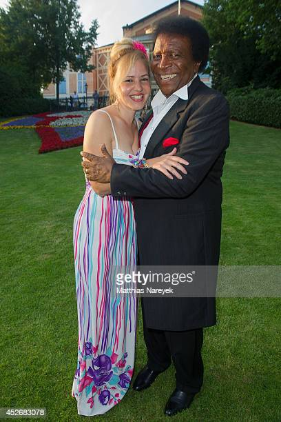 Roberto Blanco and Luzandra Strassburg attend the Bayreuth Festival Opening 2014 on July 25 2014 in Bayreuth Germany