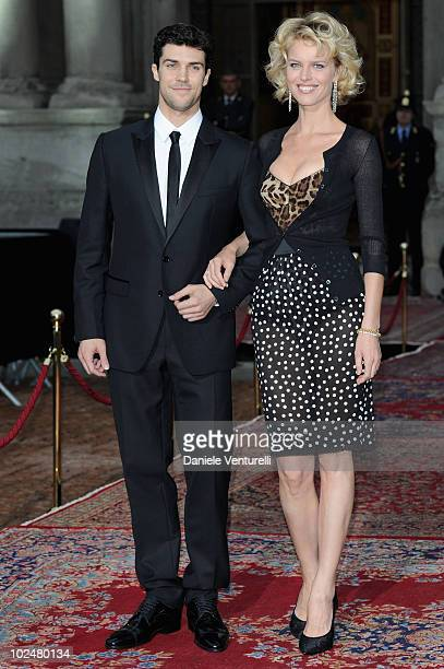 Roberto Bolle and Eva Herzigova attend the Dolce Gabbana '20 Years of Menswear' during Milan Fashion Week Spring/Summer 2011 on June 19 2010 in Milan...
