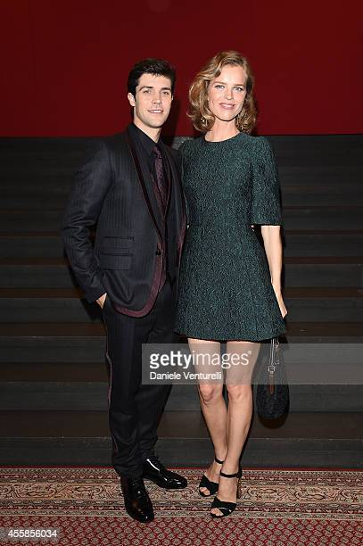 Roberto Bolle and Eva Herzigova attend the Dolce Gabbana show during the Milan Fashion Week Womenswear Spring/Summer 2015 on September 21 2014 in...