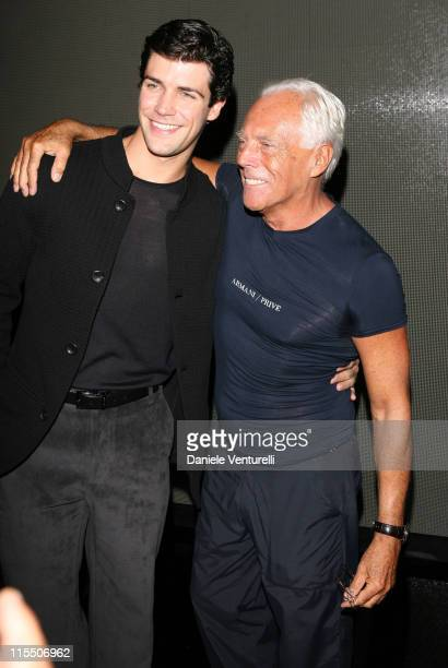 Roberto Bolle and Giorgio Armani during Milan Fashion Week Spring/Summer 2007 Giorgio Armani Front Row and Backstage at Via Bergognone 59 in Milan...