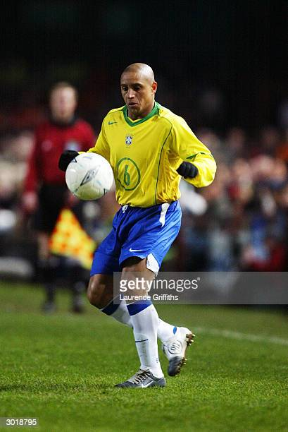 Roberto Carlos of Brazil brings the ball under control during the International Friendly match between Republic of Ireland and Brazil held on...