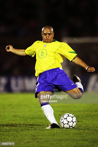 Roberto Carlos of Brazil in action during the 2006 World Cup Qualifier South American Group match between Uruguay and Brazil at the Centenario...