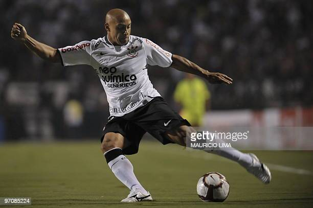 Roberto Carlos of Brazil's Corinthians is seen during their 2010 Libertadores Cup football match against Uruguay's Racing held at Pacaembu stadium in...