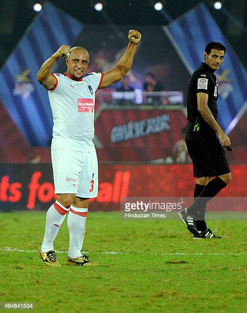 Roberto Carlos of Delhi Dynamos FC in action against Atletico De Kolkata match in the second edition of Indian super league at Salt Lake Stadium on...