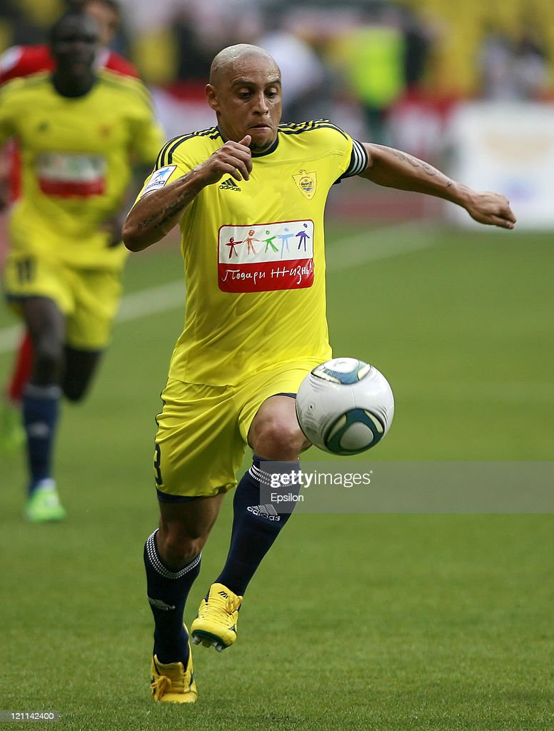 Roberto Carlos of FC Anzhi Makhachkala in action during the Russian Football League Championship match between FC Spartak Moscow and FC Anzhi...