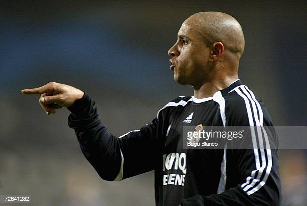 Roberto Carlos of Real Madrid gestures during the match between RCD Espanyol and Real Madrid of La Liga at the Lluis Companys stadium on December 17...