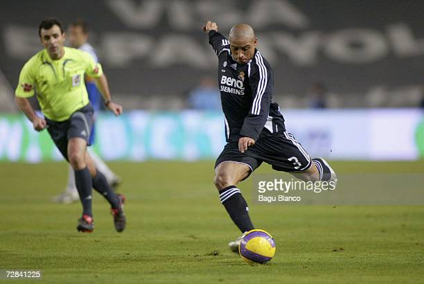 Roberto Carlos of Real Madrid in action during the match between RCD Espanyol and Real Madrid of La Liga at the Lluis Companys stadium on December 17...