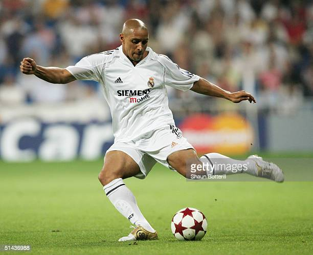 Roberto Carlos of Real Madrid in action during the UEFA Champions League Group B match between Real Madrid and Roma at the Santiago Bernabeu Stadium...