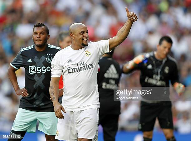 Roberto Carlos of Real Madrid Legends gestures during the Corazon Classic charity match between Real Madrid Legends and Ajax Legends at Estadio...
