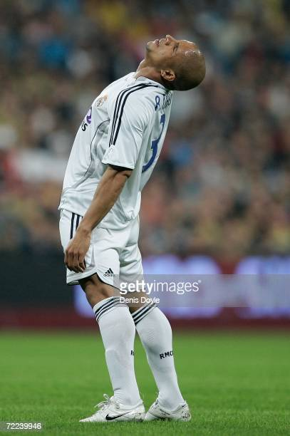 Roberto Carlos of Real Madrid reacts during the Primera Liga match between Real Madrid and Barcelona at the Santiago Bernabeu stadium October 22 2006...