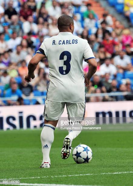 Roberto Carlos plays football during 8th Corazon Classic Match at Estadio Santiago Bernabeu on June 11 2017 in Madrid Spain