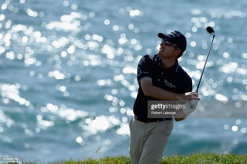Roberto Castro plays his tee shot on the eighth hole during the final round of the AT&T Pebble Beach National Pro-Am at the Pebble Beach Golf Links on February 14, 2016 in Pebble Beach, California.