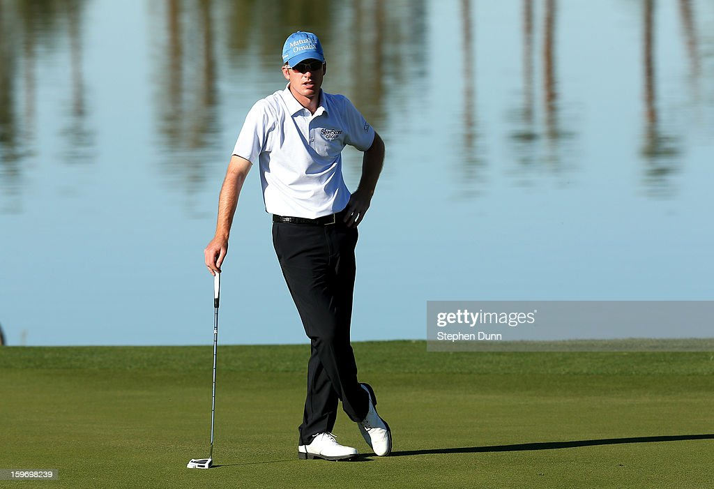 Roberto Castro waits to putt on the ninth hole during the second round of the Humana Challenge In Partnership With The Clinton Foundation at the Palmer Private Course at PGA West on January 18, 2013 in La Quinta, California.