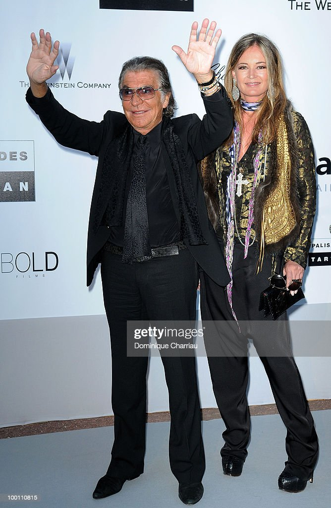 Roberto Cavalli and Eva Cavalli arrive at amfAR's Cinema Against AIDS 2010 benefit gala at the Hotel du Cap on May 20, 2010 in Antibes, France.
