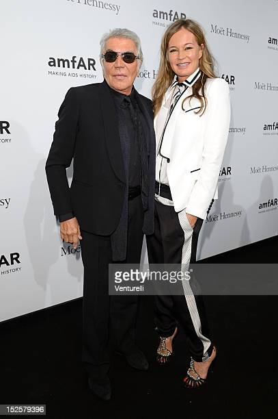 Roberto Cavalli and Eva Cavalli attend amfAR Milano 2012 during Milan Fashion Week at La Permanente on September 22 2012 in Milan Italy