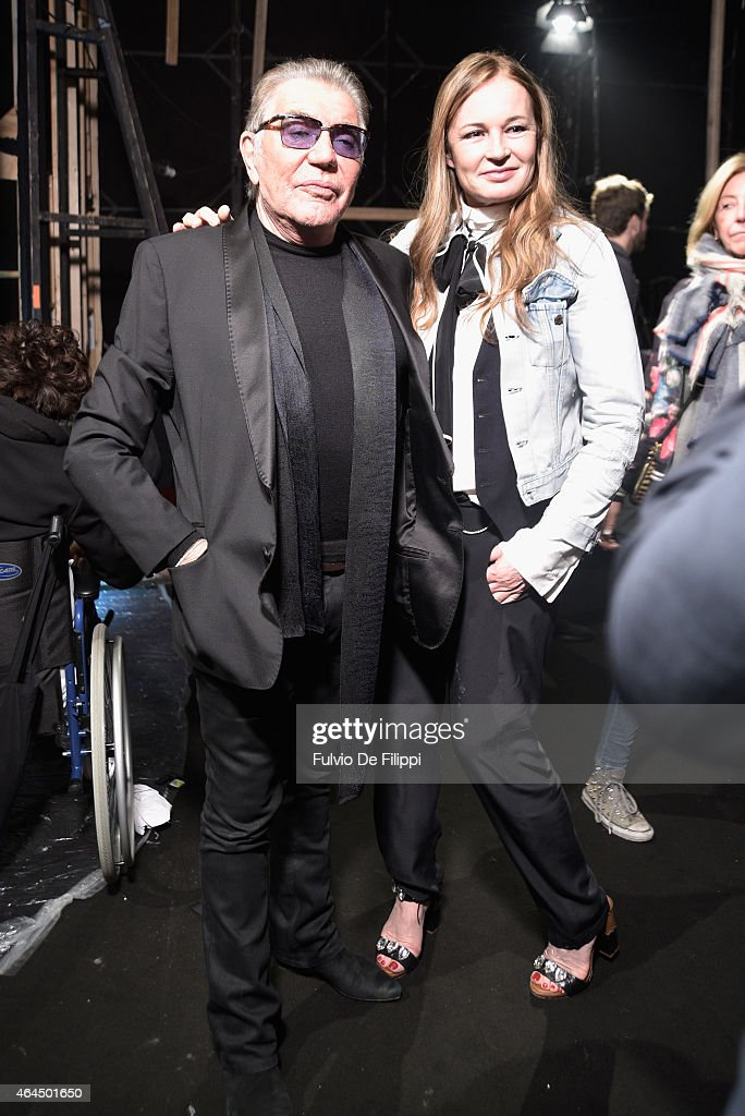 Roberto Cavalli and Eva Cavalli seen backstage ahead of the Just Cavalli show during the Milan Fashion Week Autumn/Winter 2015 on February 26 2015 in...