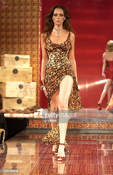 Roberto Cavalli model wearing jewelry by Chopard during 2003 Cannes Film Festival Roberto Cavalli Fashion Show Runway at Palm Beach in Cannes France