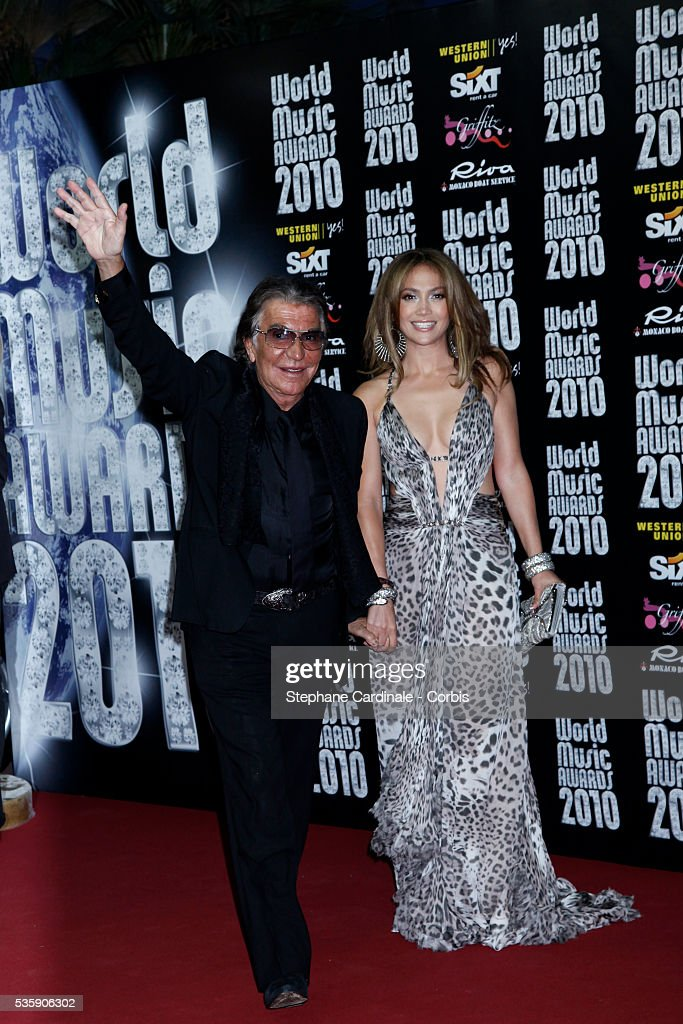 Roberto Cavalli with Jennifer Lopez at the 'World Music Awards 2010 - show' at the Sporting Club on May 18, 2010 in Monte Carlo, Monaco.