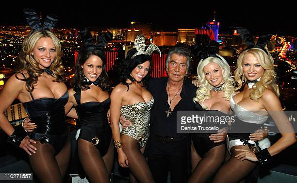 Roberto Cavalli with Models Wearing Playboy Bunny Uniformes He Designed