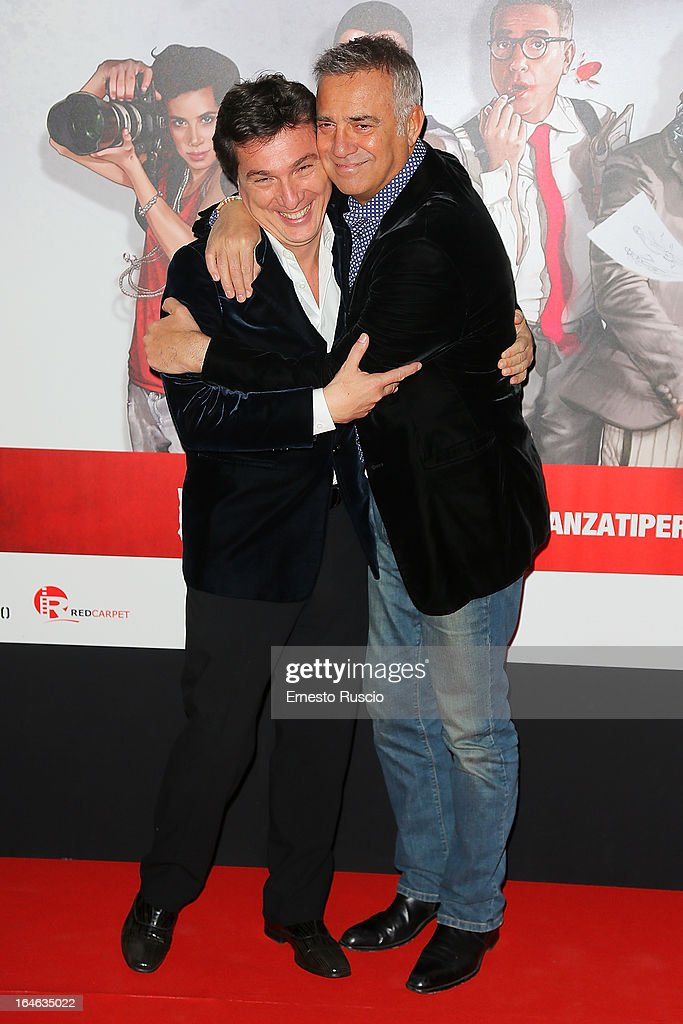 Roberto Cipullo and Massimo Ghini attend the 'Outing' premiere at Cinema Adriano on March 25, 2013 in Rome, Italy.