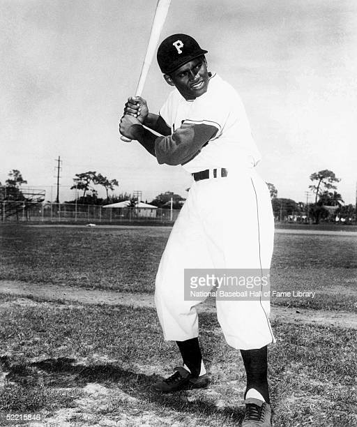Roberto Clemente of the Pittsburgh Pirates poses for a portrait in his batting stance Clemente played for the Pirates from 195572