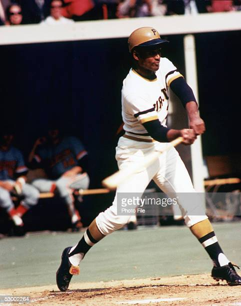 Roberto Clemente of the Pittsburgh Pirates swings at the pitch during a season game Roberto Clemente played for the Pittsburgh Pirates from 19551972