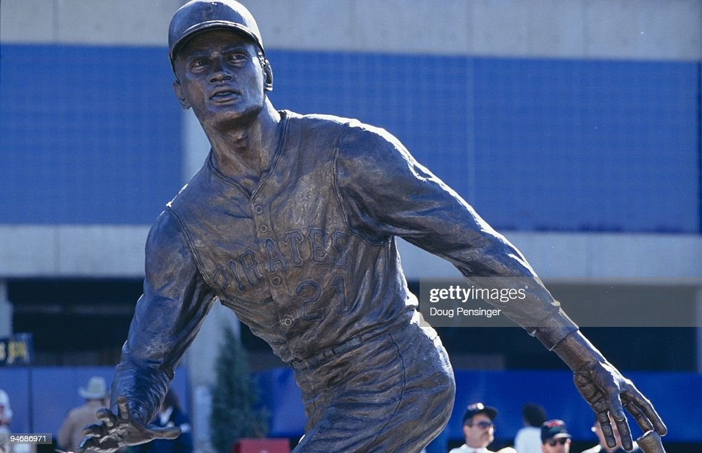 Roberto Clemente statue outside Three Rivers Stadium is shown on October 16, 1994 in Pittsburgh, Pennsylvania.